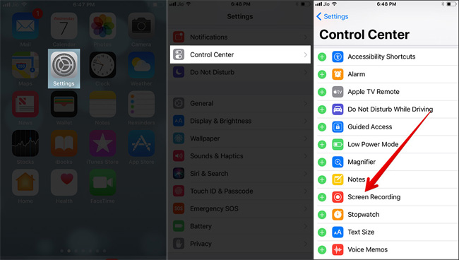 add screen recoring to control center