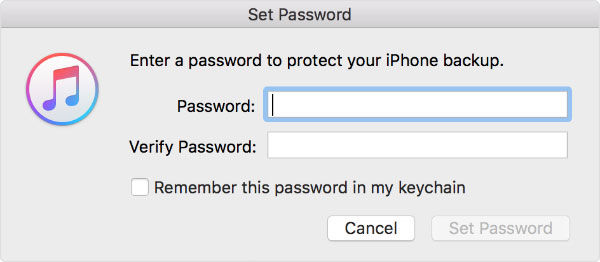 set password for itunes backup