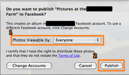 publish photos on facebook