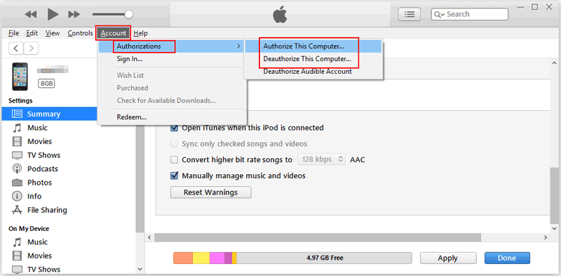 Reauthorize Computer to Fix iPod not Syncing