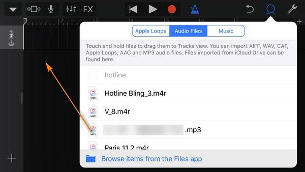 select audio files