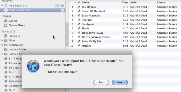 rip the cd music with itunes