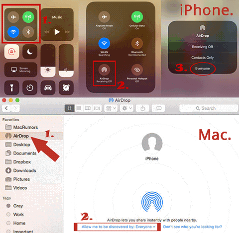 turn on airdrop on mac and iphone
