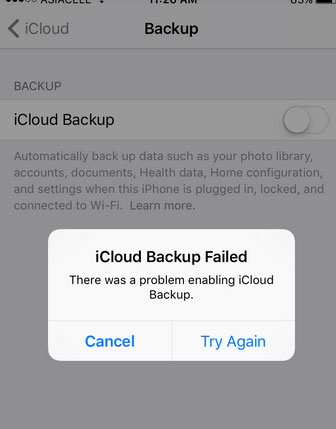 icloud backup failed