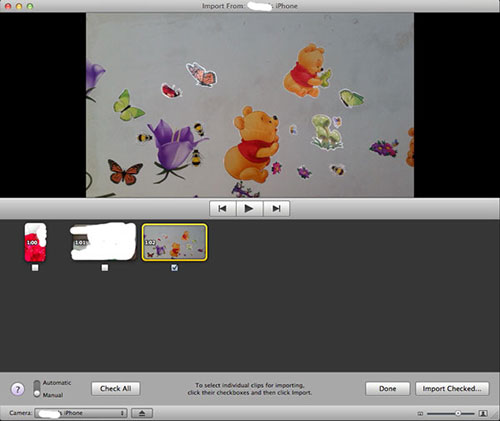 import videos from iphone to imovie on mac