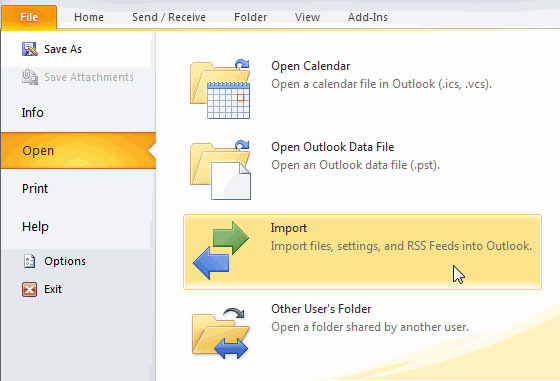 move vcf to outlook