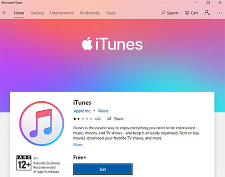 install itunes from microsoft store