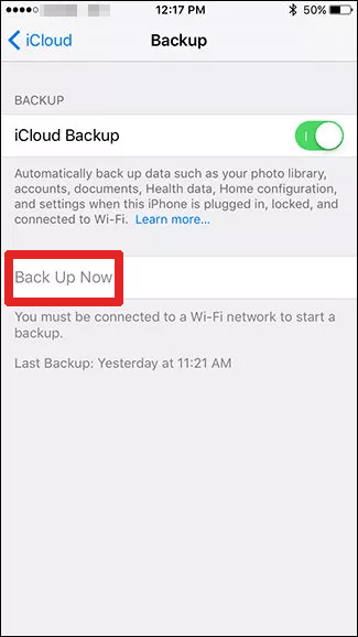 backup iphone using icloud
