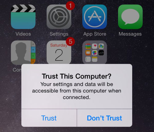 trust this computer to allow iphone to connect to pc