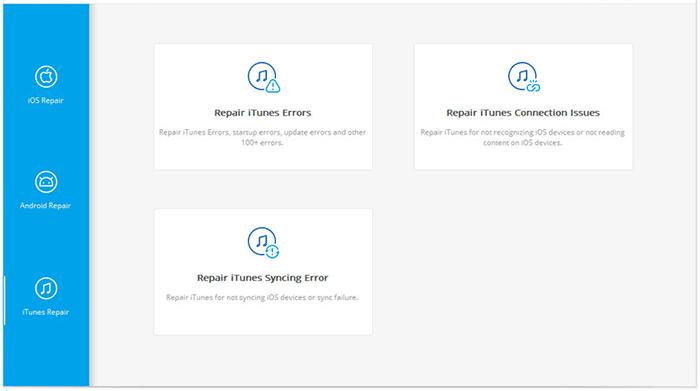 choose the option of repair itunes syncing error