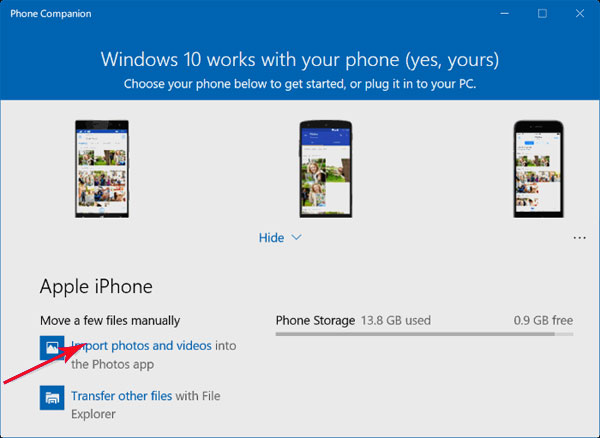 import pictures from iphone to windows 10