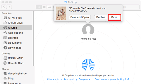 how to put photos from iphone to mac with airdrop