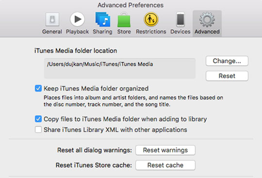 clear itunes cache
