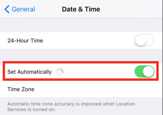 set date and time automatically on iphone