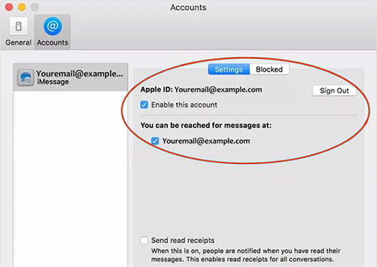 sign out and sign in to imessages on mac