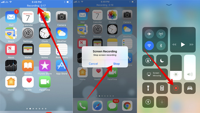 stop iphone screen recording