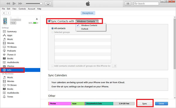 sync contacts from computer to iphone via itunes