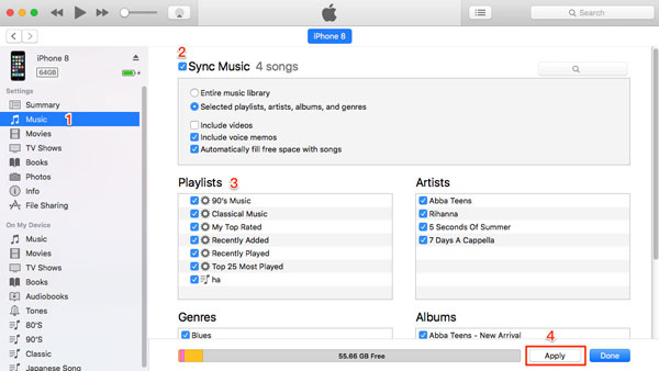 sync music from itunes to iphone