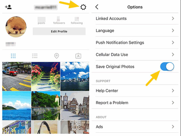 copy instagram photos to iphone