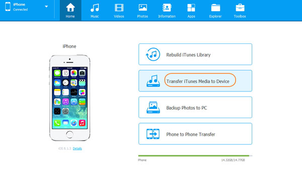choose the section of transfer itunes media to device
