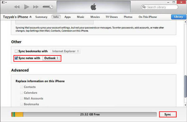 transfer notes from iphone to pc with itunes