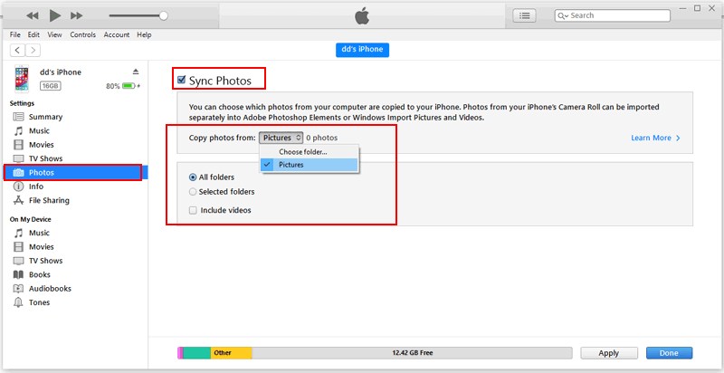 how to transfer pictures from iphone to iphone with itunes
