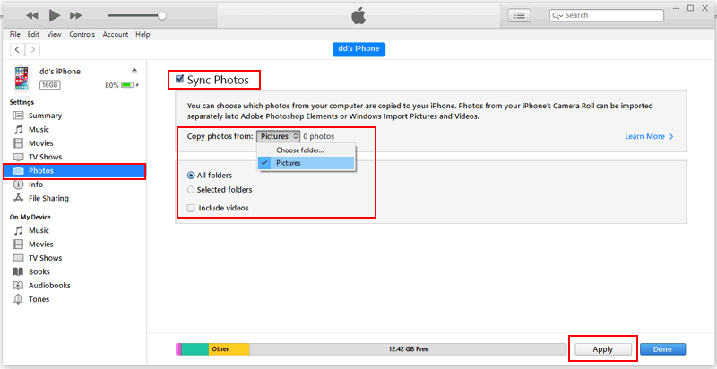 Sync Photos from Laptop to iPhone via iTunes - 2