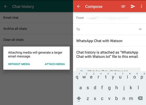 how to sync android whatsapp chats to email