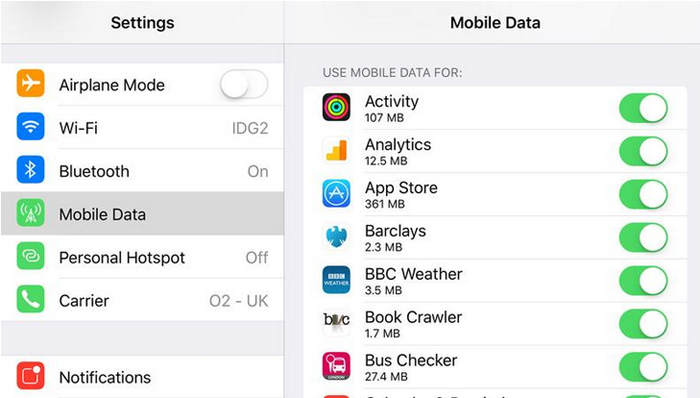 change mobile data to access app store