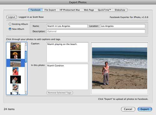 export photos from iphoto to facebook