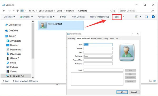 how to edit iphone contacts on pc via windows contacts