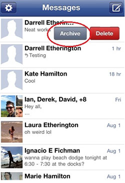 how to archive facebook messages on iphone