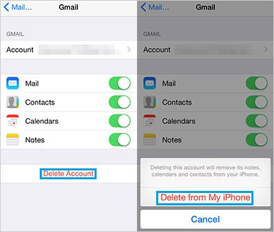 remove google account from iphone