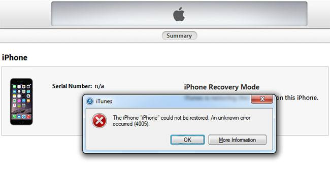 fix iphone error 4005