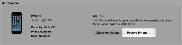 format iphone via itunes