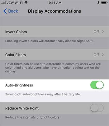 turn off auto brightness
