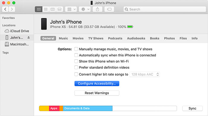 use finder or itunes to get out of zoom on iphone or ipad