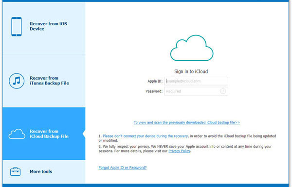 choose recover from icloud backup file mode