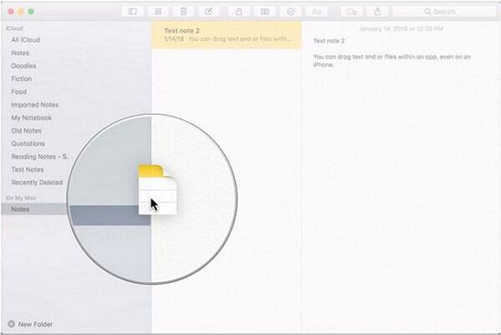 move notes on icloud between folders
