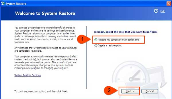 restore computer to an earlier time to fix error 1