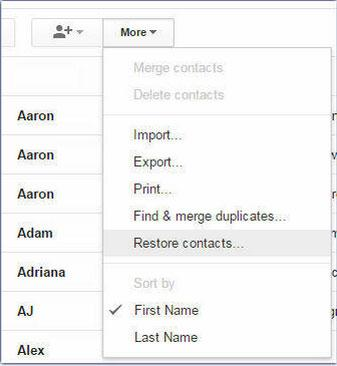 recover deleted gmail contacts