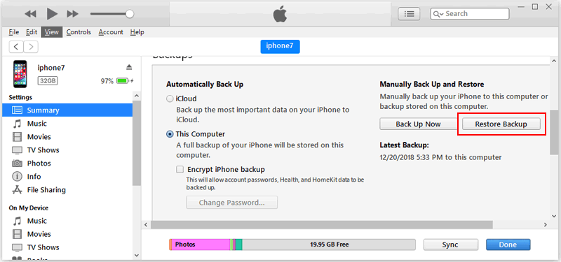 How to Restore iPhone from iTunes Backup