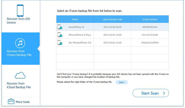 scan itune backup files
