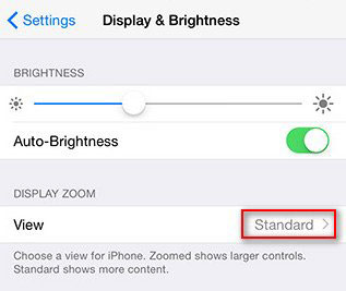 set standard view to take iphone out of zoom mode