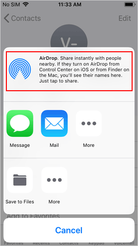 transfer contacts to new iphone without icloud using airdrop - 2
