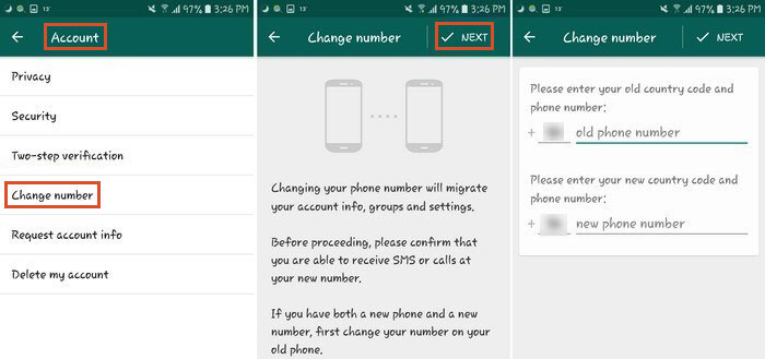 how to move whatsapp from android to iphone with changing account feature