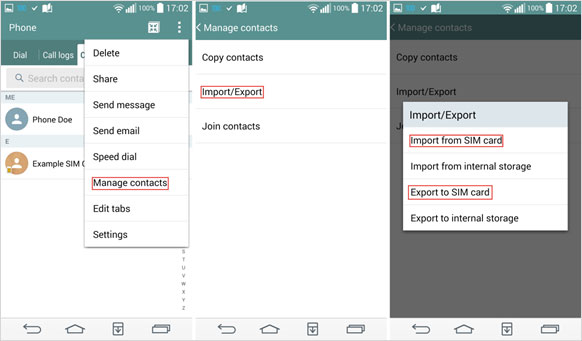 import and export contacts via sim card