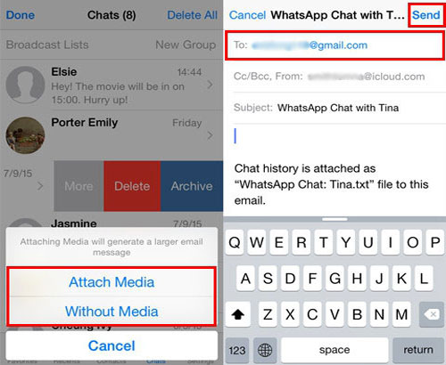 transfer whatsapp from iphone to android using email chat