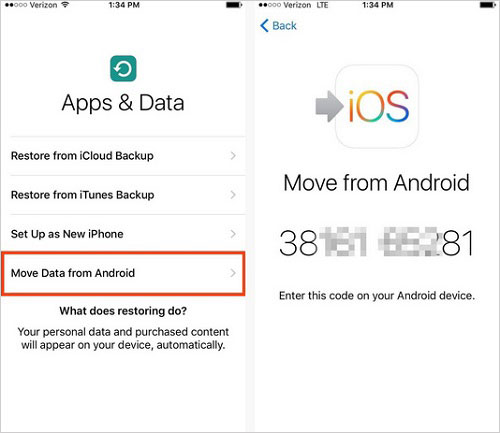 move android data to ios