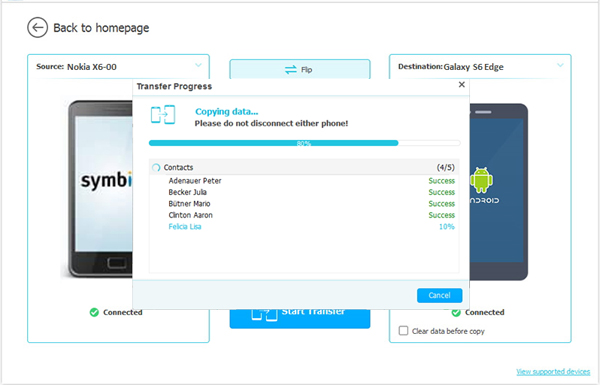 start to transfer songs from nokia to lg